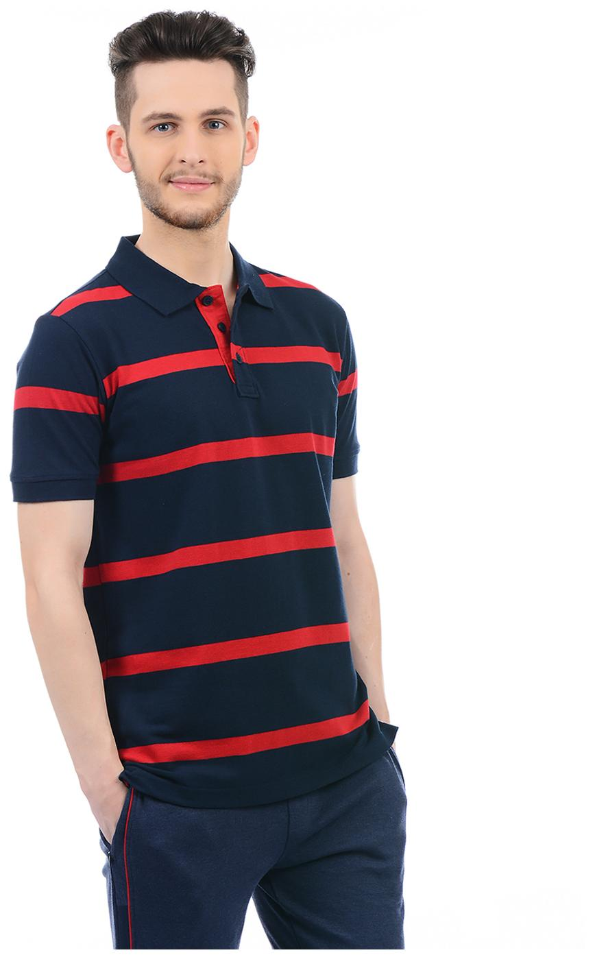 7e96139864 Buy Hanes Men Regular Fit Polo Neck Striped T-Shirt - Blue Online at Low  Prices in India - Paytmmall.com