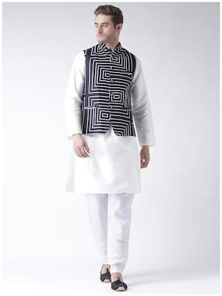hangup 3 piece kurta set white color with printed waist coat size:38