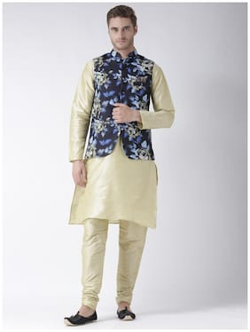 hangup 3 piece kurta set golden color with printed waist coat size:42