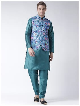 hangup 3 piece kurta set dark slate color with printed waist coat size:38