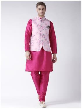 hangup 3 piece kurta set deep pink color with printed waist coat size:44