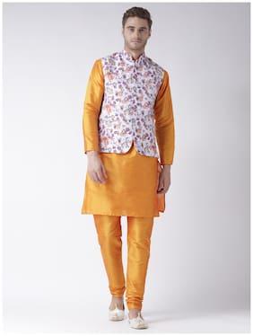 hangup 3 piece kurta set golden color with printed waist coat size:38
