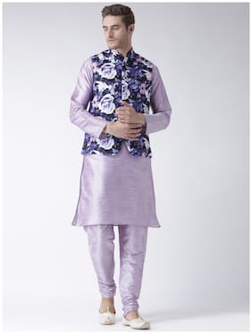 hangup 3 piece kurta set plum color with printed waist coat size:40