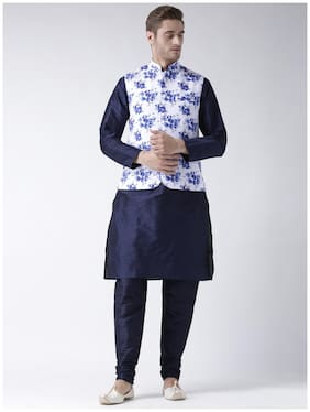 Hangup Men Regular Fit Silk Full Sleeves Printed Kurta Pyjama - Blue