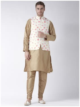 hangup 3 piece kurta set khahki color with printed waist coat size:42