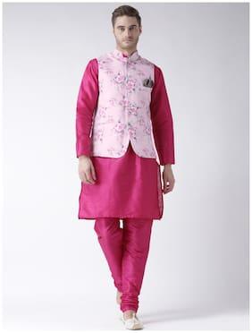 hangup 3 piece kurta set deep pink color with printed waist coat size:40