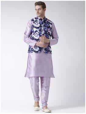 hangup 3 piece kurta set plum color with printed waist coat size:38