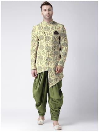 Hangup Cotton Medium Sherwani - Green