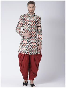 Men Printed Regular Fit Sherwani
