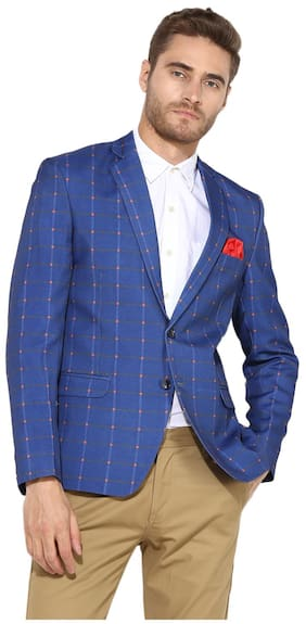 Hangup Men Cotton Regular fit Blazer - Blue