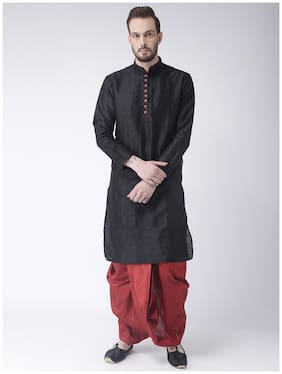 Hangup Men Regular Fit Silk Full Sleeves Solid Kurta Pyjama - Black
