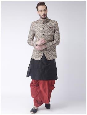 Hangup Men Regular Fit Silk Full Sleeves Printed Kurta Pyjama - Multi