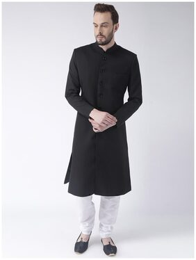 Hangup Men Regular Fit Blended Full Sleeves Solid Kurta Pyjama - Black