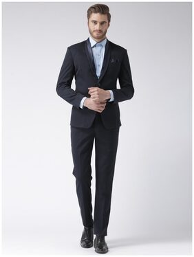 Hangup Men Blended Regular Fit Suit - Blue