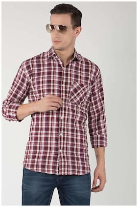 Hangup Men Slim Fit Casual shirt - Maroon