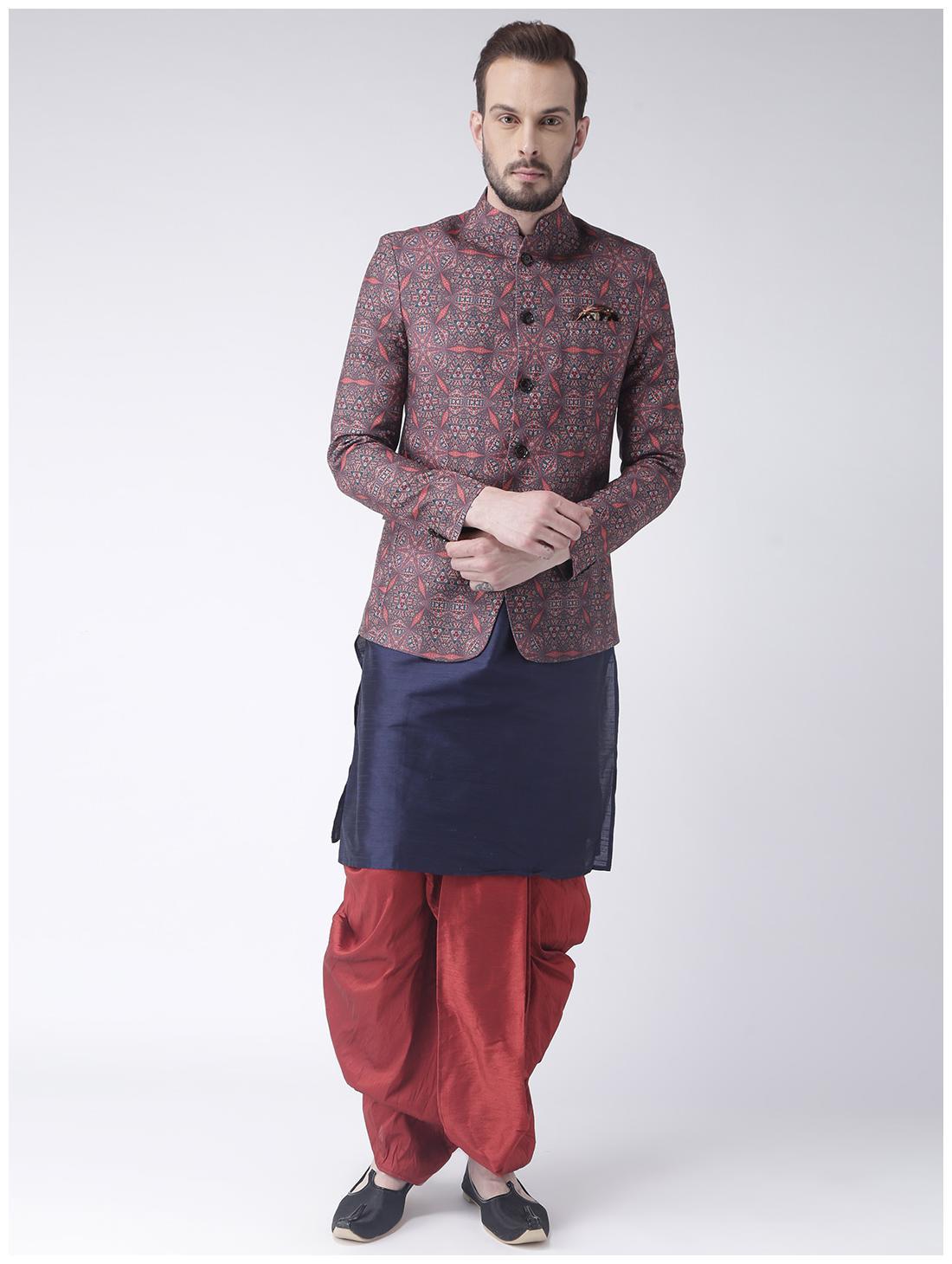 19dfc357c2 Hangup Men Regular Fit Silk Full Sleeves Printed Kurta Pyjama - Multi