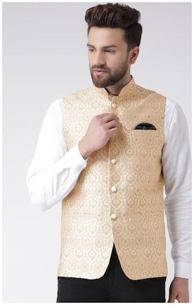 Men Printed Blended Ethnic Jacket