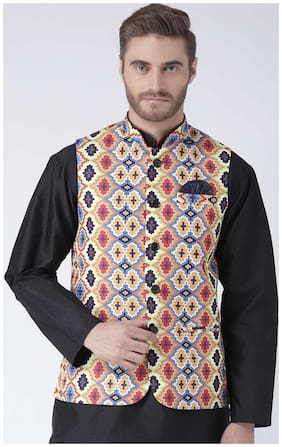 Men Printed Blended Ethnic Jacket