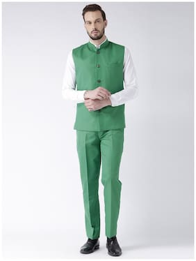 Hangup Men Cotton Blend Solid Suiting - Green