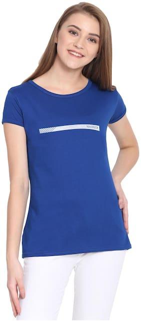 HAOSER Women Blue Slim fit Round neck Cotton T shirt