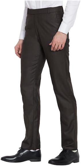 HAOSER Men Slim Fit ( Slim Fit ) Formal Trouser - Brown