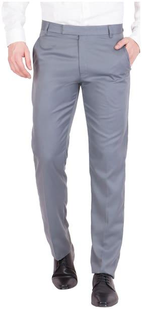 Haoser Men's Grey Colourd Cotton Formal Trouser For Men's