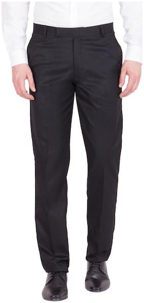 Haoser Men's Grey Cotton Solid Trouser For Men 's