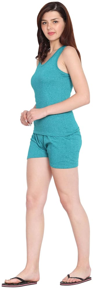 HAOSER Women Cotton Solid Top and Shorts Set - Blue