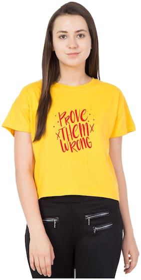 HAOSER Women Chiffon Printed - Regular top Yellow