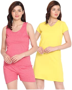 HAOSER Cotton Night Gown Solid Nightwear Multi - (Pack of 2 )