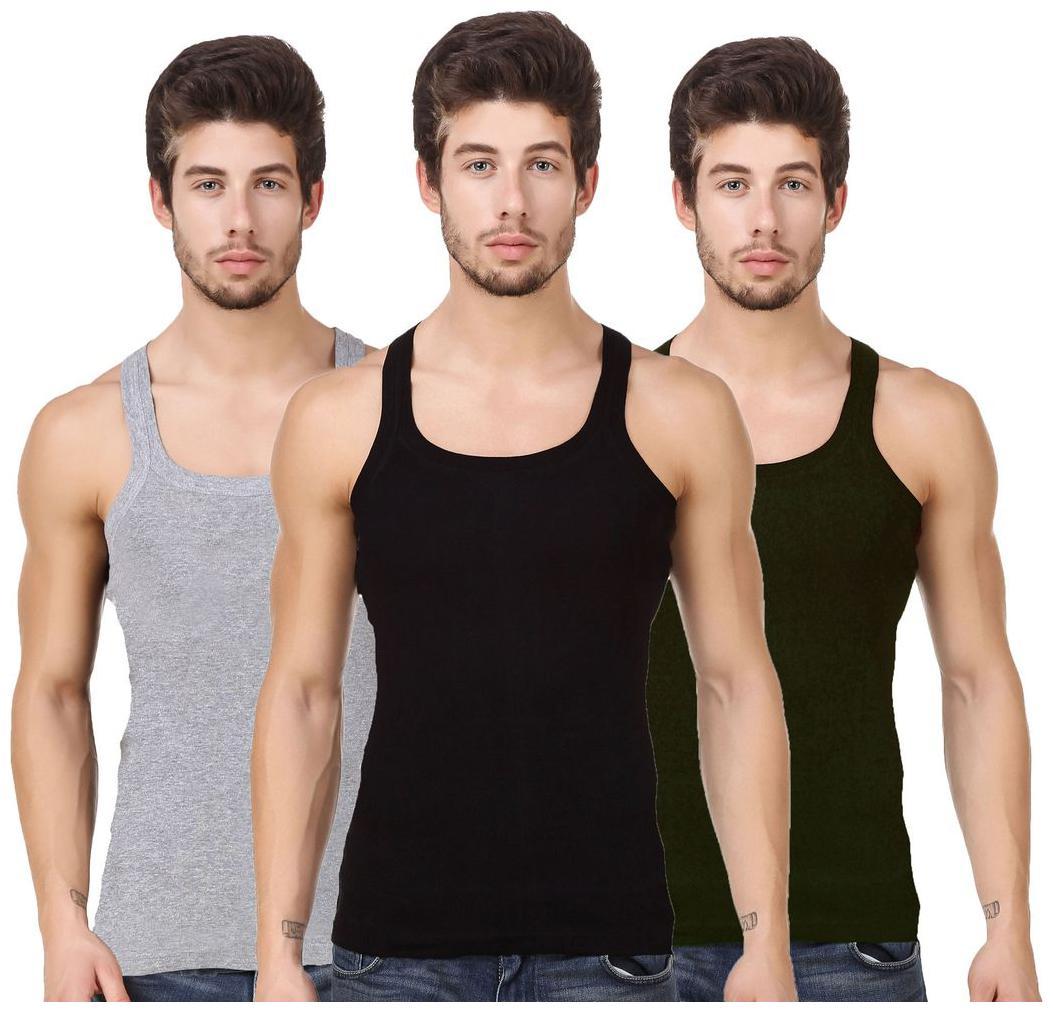 Hap Pack of 3 Sleeveless Round Neck Men Vest   Multi by Hapwear