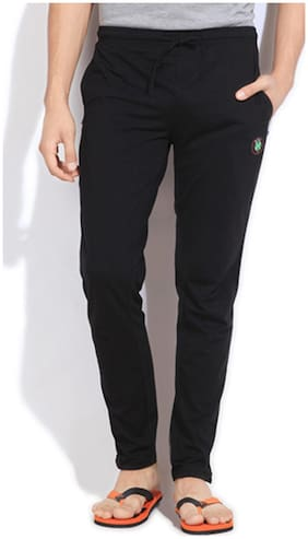 Happy Hours Men Blended Solid Pyjama - Black