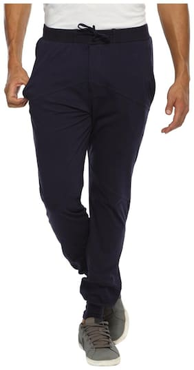 Happy Hours Men Blended Solid Pyjama - Blue