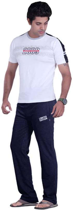 Happy Hours Men Cotton Solid Pyjama - Blue