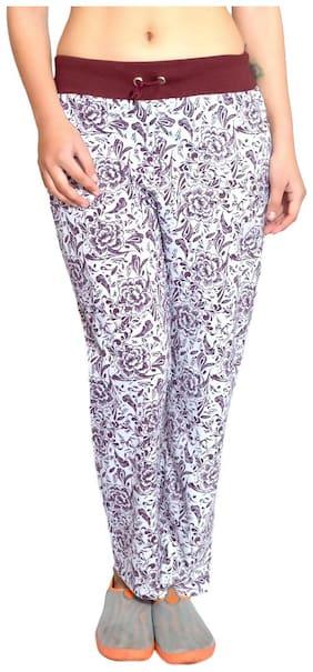 HARDIHOOD Women Cotton Floral Pyjama - White