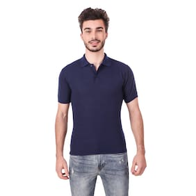 Hardy's Collection Men Regular fit Polo neck Solid T-Shirt - Blue