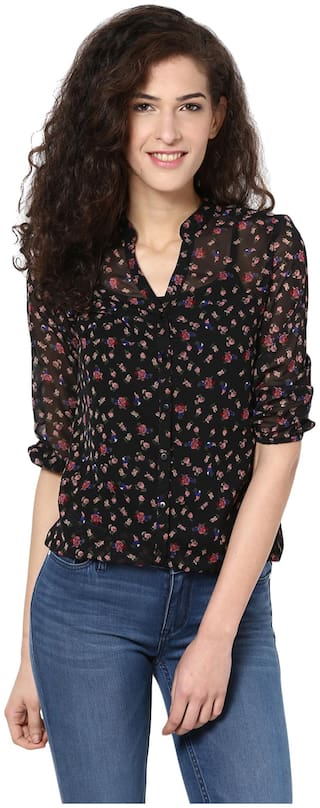 Harpa Women Polyester Printed - Regular Top Black