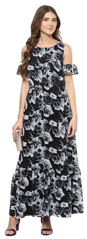 Harpa Black Fit And Flare Casual Dress