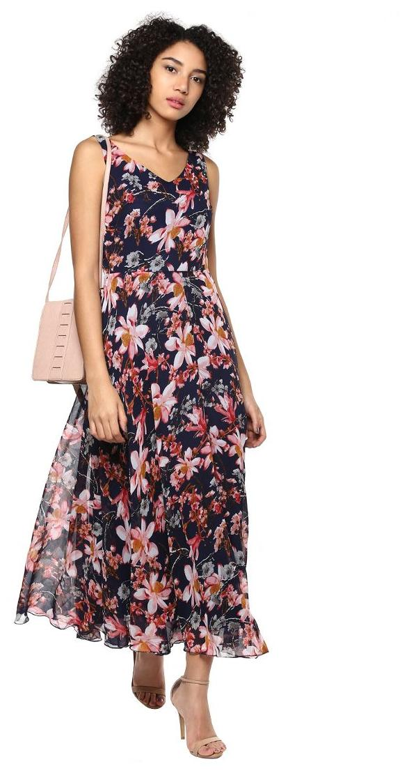 69dac779b7c Buy Harpa Floral Printed Navy Maxi Dress Online at Low Prices in India -  Paytmmall.com