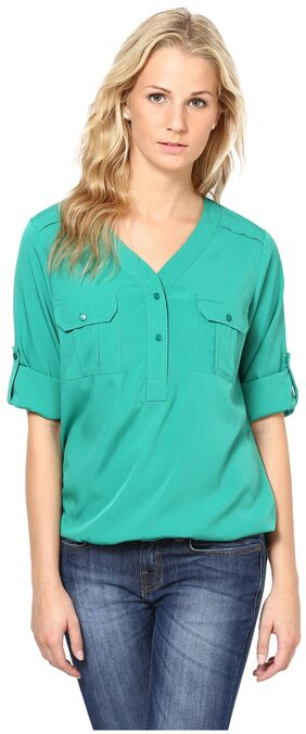 Harpa Green Crepe Top  - GR2394GREEN