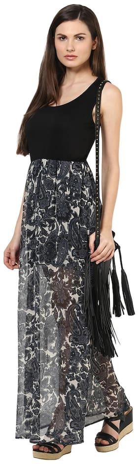 Harpa Grey Georgette Dress (Size-S)