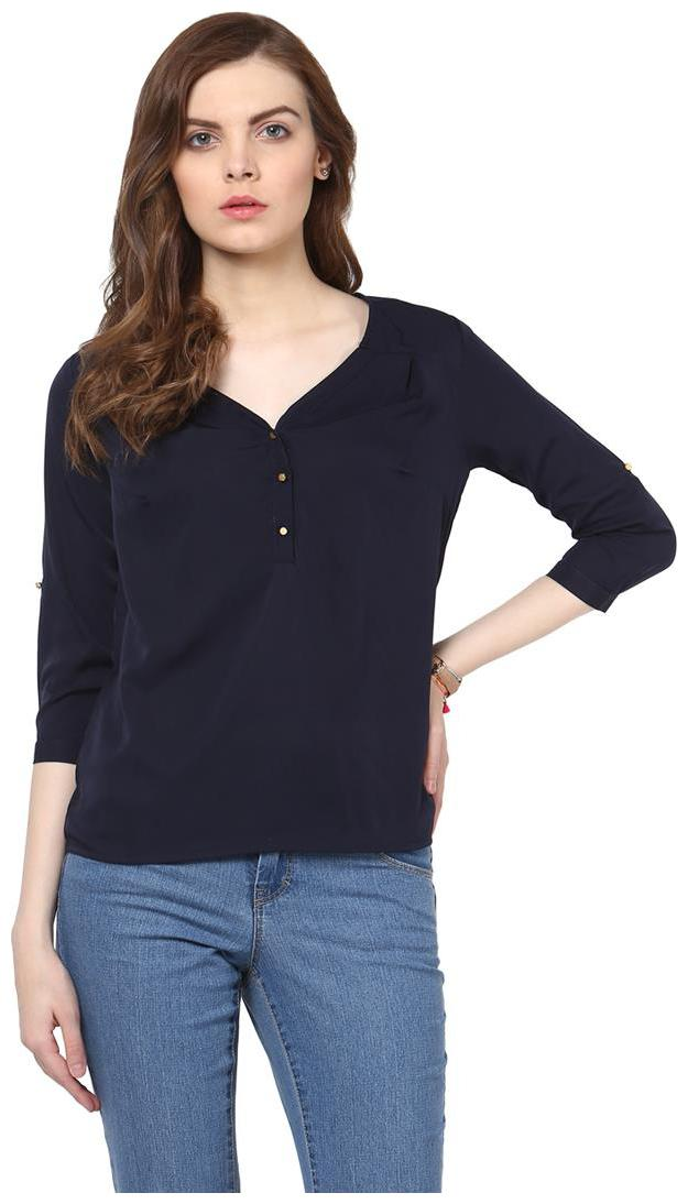 Harpa Navy Crepe Solid 3/4th Sleeves Womens Top