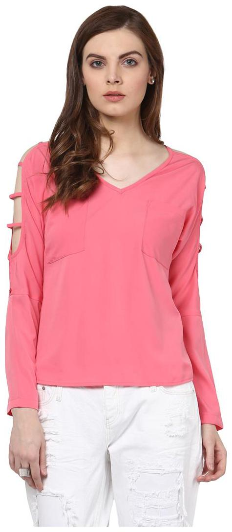 Harpa Pink Crepe Solid Full Sleeves Womens Top by Harpa