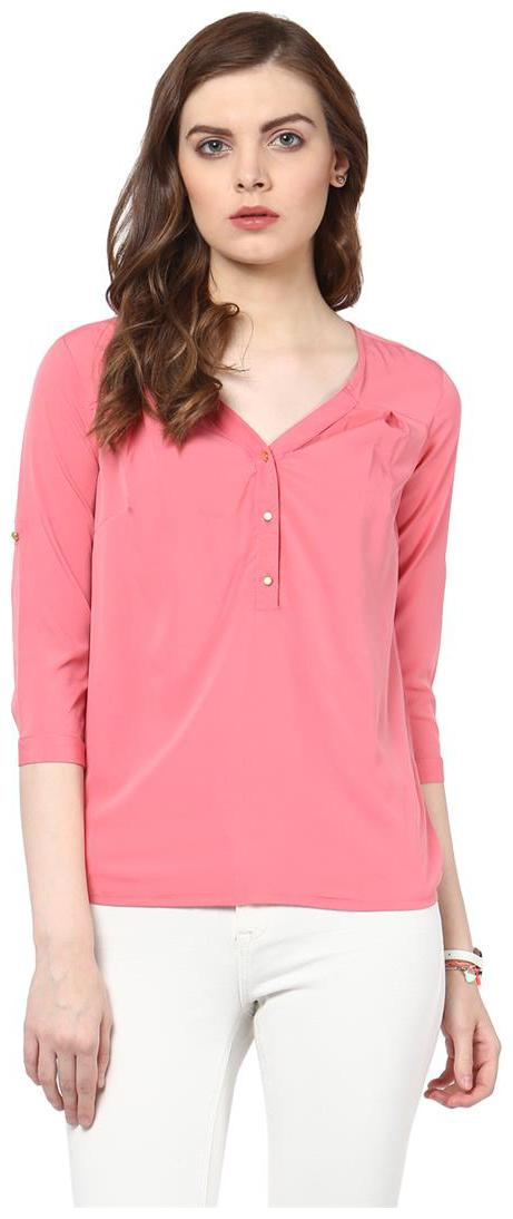 Harpa Pink Crepe Solid 3/4th Sleeves Womens Top