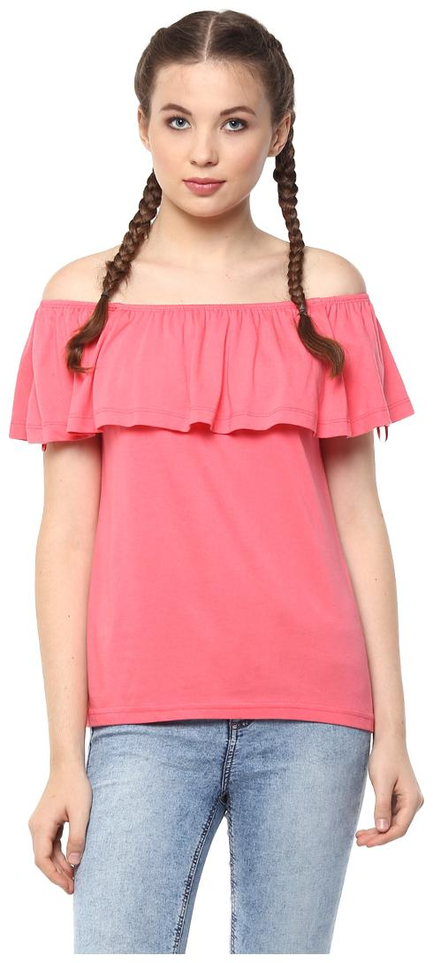 Harpa Pink Sleeveless Regular Fit Casual Women's Tops by Harpa