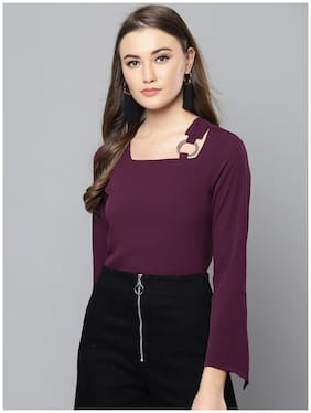 Women Solid Square Neck Top
