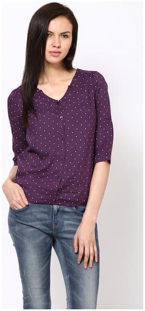 Harpa Women Rayon Polka Dots - Regular Top Purple