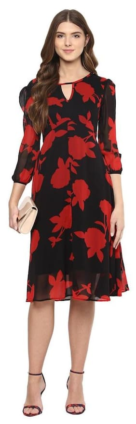 Harpa Red Fit And Flare Casual Dress