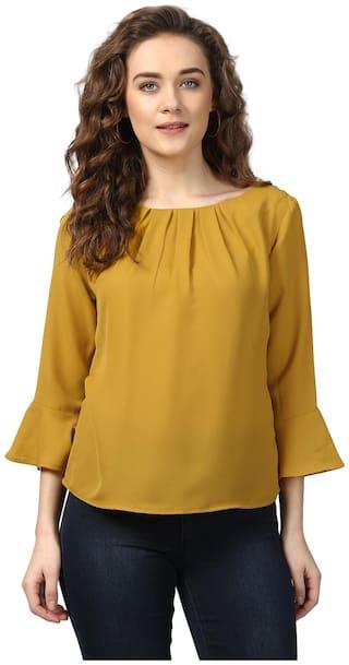 Harpa Women Polyester Solid - Regular Top Yellow