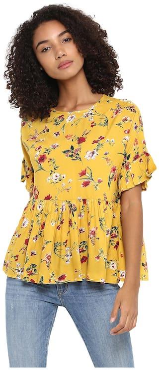 Harpa Women Rayon Floral - Regular Top Yellow